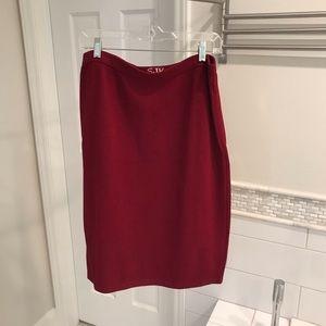Vintage St. John Knit Skirt Deep Red Sz 12